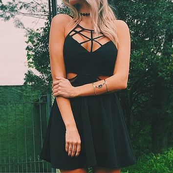 Black Cross Strap Cut-Out Dress