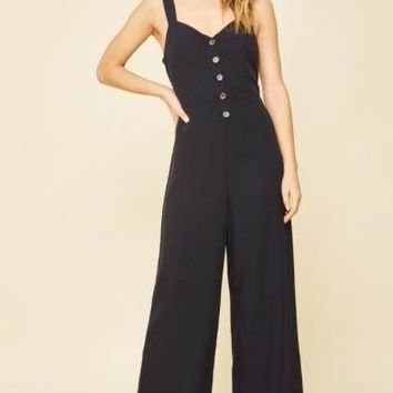 Button and Bow Jumpsuit, Navy