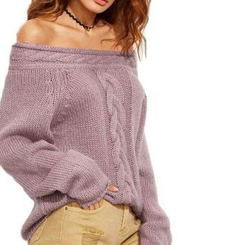 COLROVIE Purple Cable Knit Off The Shoulder Long Sleeve Pullovers Fall Ladies Sexy Wear Oversized Sweater