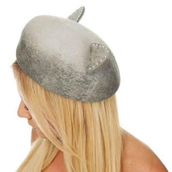 Eugenia Kim Caterina Grey Marble Wool-Felt Cat Ears Beret Hat For Women Outlet :