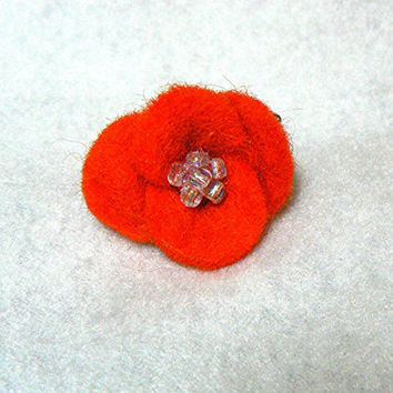 Beaded Felted Red Flower Stretch Band Ring, Adjustable, Statement Ring, Handmade