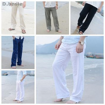 Mens Linen Loose Pants Beach Drawstring Casual Long Slacks Trousers Beach trousers DAJ9211