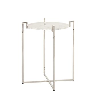 Worlds Away Abel Marble Top Side Table
