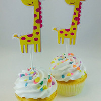 Giraffe Cupcake Toppers/Giraffe Baby Shower/Giraffe Birthday/Giraffe Decor/Choose Your Color