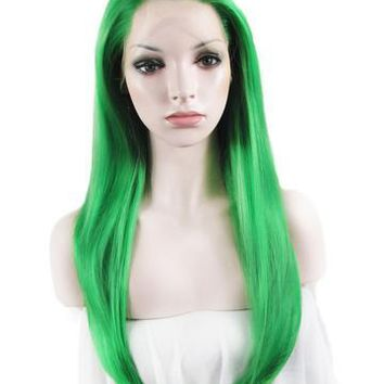 Bright Green Straight Long Synthetic Lace Front Wig