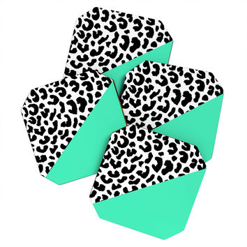 Rebecca Allen Leopard And Mint Coaster Set