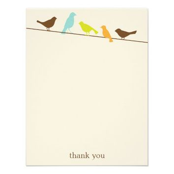 Birds on a Wire Flat Thank You Note Cards Personalized Announcement from Zazzle.com