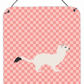 Stoat Short-tailed Weasel Pink Check Wall or Door Hanging Prints BB7872DS1216