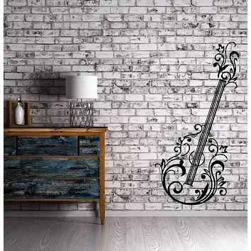 Guitar Floral Music Rock&Roll Positive Mural Wall Art Decor Vinyl Sticker (z655)