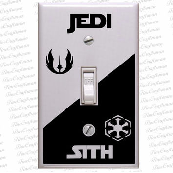 Star wars decals, Star wars light Switch Decal  Jedi Versus Sith decal  Jedi Light Side or Sith Dark Side decal for light switch Plate