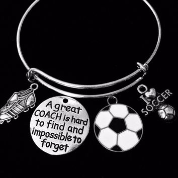 Soccer Coach Gift I Love Soccer Jewelry Soccer Cleats Adjustable Charm Bracelet Silver Expandable Bangle One Size Fits All Gift