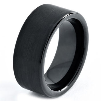 Black Cobalt Wedding Band 8mm Enamel Mens Ring Bands Men's Engraved Womans Set Unique Rings Brushed Men Pipe Cut Custom Handmade Anniversary