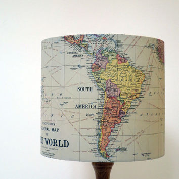 Handmade Map of the World Lampshade