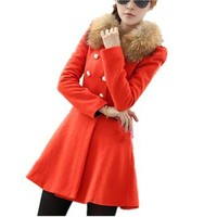 Partiss Women Woolen Double Breasted Faux Fur Collar Trench Coat
