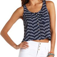 Button-Up Floral Chevron Crop Top by Charlotte Russe - Navy Combo