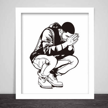 Drake 6 God Art Poster (6 sizes) // Jumpman Hotline Bling Drizzy Woes