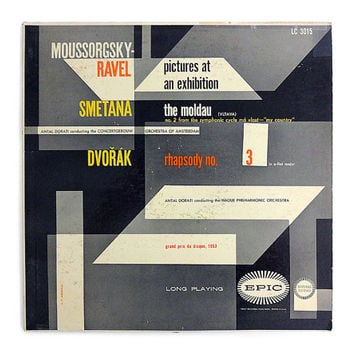 "A.F. Arnold record album design, 1952. ""Moussorgsky-Ravel Pictures at an Exhibition / Smetana The Moldau / Dvorak Rhapsody No. 3"" LP"