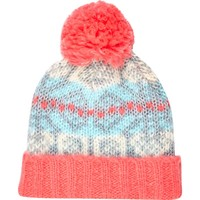 Coral fair isle beanie hat - hats - accessories - women