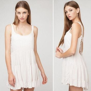 DCCKXT7 Urban Outfitters' Fashion Solid Color Backless Sleeveless Strap Mini Dress