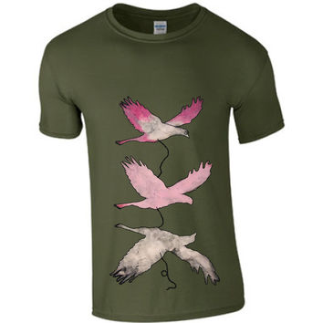 Hand painted t shirt pink flying birds