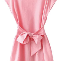 Coral Bowknot Belted Short Sleeves Mini Dress