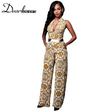 Elegant Jumpsuit Long White Yellow Tapestry Print Belted Overalls For Women Casual