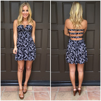 Midnight Bloom Strapless Dress