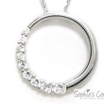 Diamond Simulated Circle Pendant Necklace in Solid Sterling Silver