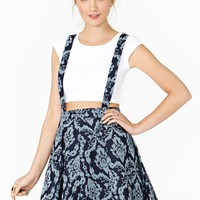 Denim Brocade Suspender Skirt