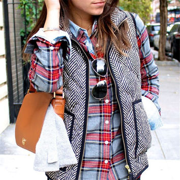 Cool Autumn&Winter Womens Vest Gray Comfortable Outwear +Free Christmas Gift -Random Necklace