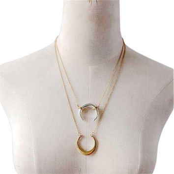 DOUBLE HORN PENDANT NECKLACE GOLD Necklace Women Crescent Moon Phase Necklace