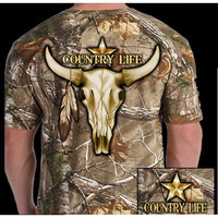 Country Life Outfitters Camo Realtree Bull Skull Unisex T Shirt