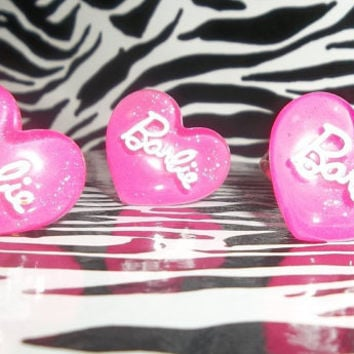 Gorgeous Hot Pink Glitter Barbie Heart Adjustable Ring
