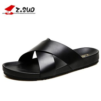 Genuine Leather Outdoor Men Slippers Summer Mens Leather Sandals Beach Shoes Men Flat Shoes