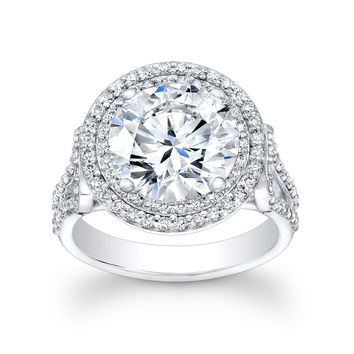 Ladies 18kt white gold diamond engagement ring 0.75 ctw G-VS2 quality with 2ct Round white sapphire