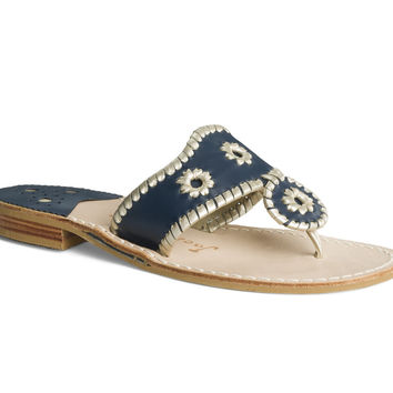 Jack Rogers Palm Beach Flat Sandal- Navy and Platinum
