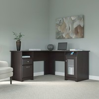 Espresso Oak Wood Large Computer Desk With drawers And Closed Cabinets
