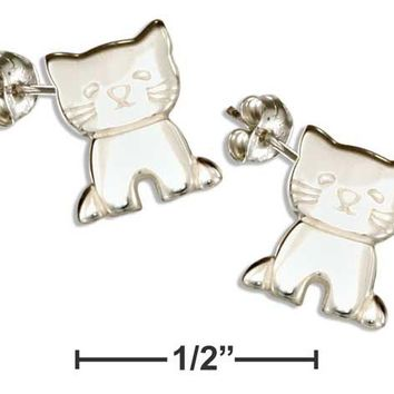 Sterling Silver High Polish Kitten Cat Post Earrings