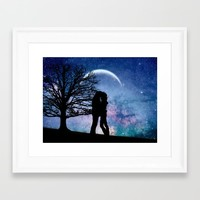 Galaxy love Framed Art Print by kitzzy
