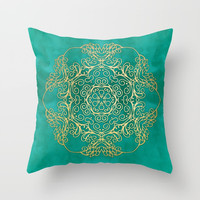 Turquoise & Gold Mandala Throw Pillow by Tanyadraws