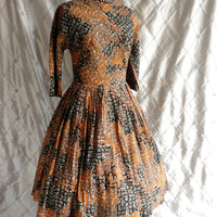 ON SALE 50s Dress // Vintage 1950s Brown Rust Grey and Black Print Day Dress by R&K Originals Size M