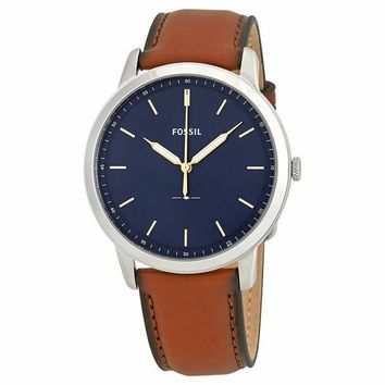 Fossil Mens FS5304 Blue Dial Brown Leather Band Watch