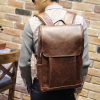 Men's Brown Leather Backpack Laptop Travel Bag