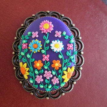 purple floral statement brooch,polymer clay brooch,personalized,filigree brooch,gift ideas for mom,wife gift, flower cameo brooch,jewelry