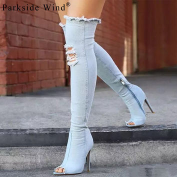 Parkside Wind Fashion Sexy Thin Heel Women's Over Knee Boots Holes Peep Toe Zip Denim Solid Color Women Boots 1314-5