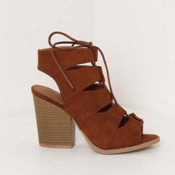 Chunky Lace Up Heels Rust