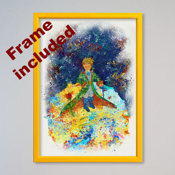 The Little Prince Poster Le Petit Prince Watercolor Art Giclee FRAMED Print