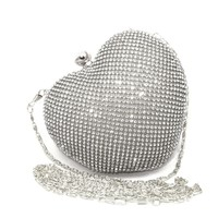 Crystal Heart Shape Evening Clutch Bag