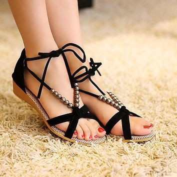 Suede Slope Heel Peep-toe Summer Ankle Strap Sandals