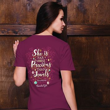 Cherished Girl She is More Precious Than Jewels Girlie Christian Bright T Shirt